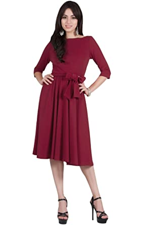 e34d8d1b727 Viris Zamara Womens 3 4 Sleeve Boat Neck with Belt Modest Elegant Formal  Work Cute Midi Dress at Amazon Women s Clothing store
