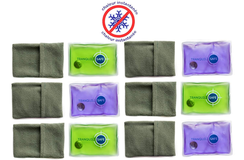 TRANQUILISAFE ® - Set de 6 calentadores de bolsillo - reutilizables y Prácticos - botella de agua caliente mágica 11 * 8 cm - calor Calentador de Manos Gel ...