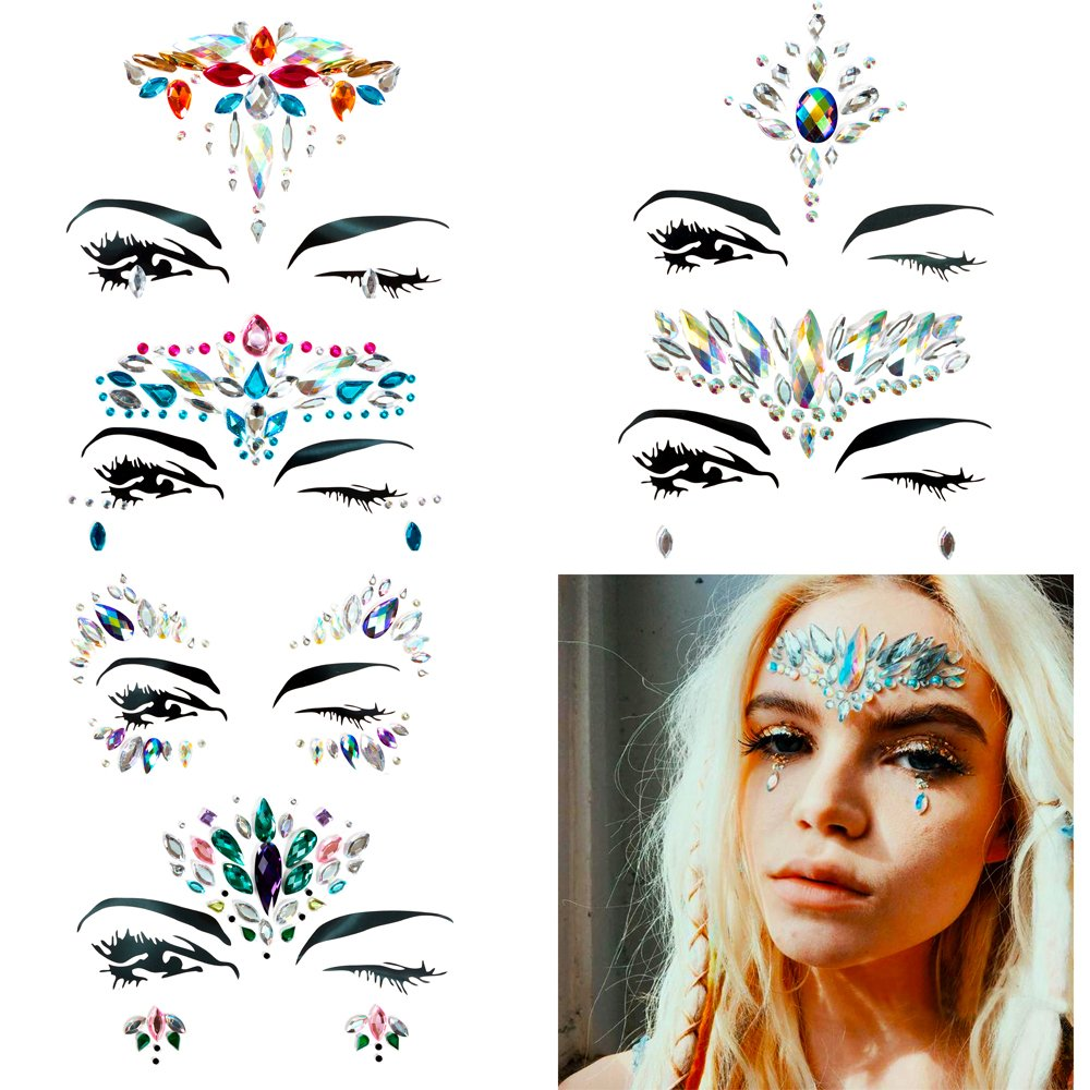 HITOP Face Jewelry Stickers Rhinestone Tattoo, 6 Sheets Temporary Waterproof Self Adhesive Crystal Face & Body Jewels with Glitter Primer For Festival Party Beach Bikini Make Up (Set1)