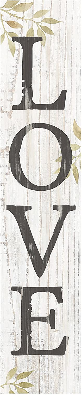 P. Graham Dunn Love Greenery Whitewash 7.25 x 1.5 Inch Wood Vertical Tabletop Block Sign