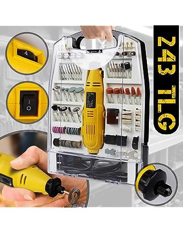 Mini-Amoladora recta eléctrica I maletín plástico con 243 piezas, 135 W I Herramienta rotativa