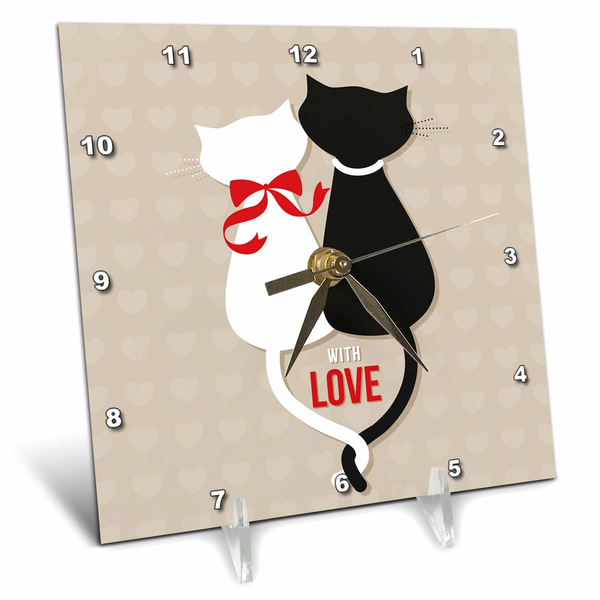 3dRose Sven Herkenrath Animal - With Love Vector of Two Adorable Cats With Sitting Together - 6x6 Desk Clock (dc_281670_1)