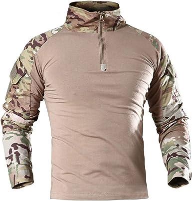 Hombres Militar táctico de manga larga camisa transpirable caza combate camisetas de secado rápido al aire libre Tops 1/4 cremallera frontal camuflaje ...
