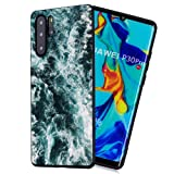 Amocase Black TPU Matte Case with 2 in 1 Stylus for Huawei P30 Pro,Stylish Artistic Design Soft Flexible Rubber Silicone Shockproof Anti-Scratch Back Case,Sea Waves