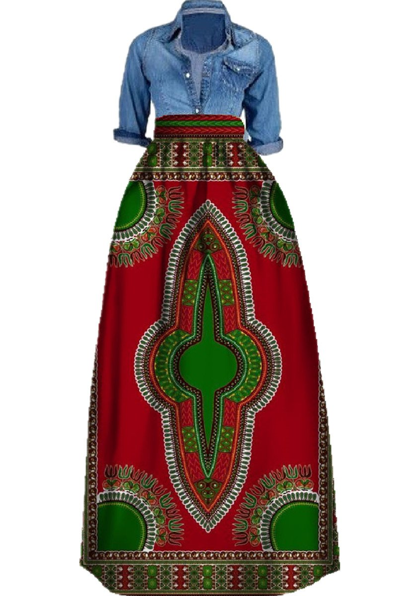Huiyuzhi Women\'s African Print Skirts Long Maxi Skirt Dashiki Ball ...