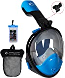 HELLOYEE Snorkel Mask Panoramic View For Adults And Kids, Snorkeling Mask Free Breathing Full Face Anti-Fog Anti-Leak Design With Waterproof Phone Pouch