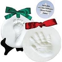 Proud Baby DELUXE Clay Hand Print & Footprint Keepsake Kit - 4 RIBBONS - EASEL - GLAZE FINISH - Dries Stone Hard - No Bake - Air Drying (Makes 2 Plaques)