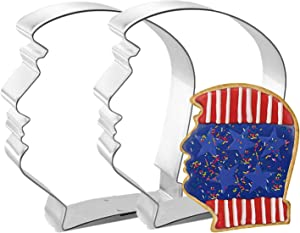 2 Packs Donald Trump Cookie Cutters Metal Molds Stainless Steel Mould Shape, 2020 President Election Day Vote Party Sign USA Decor American Home Kitchen Dining Supplier Baking Tool Patriotic Accessory