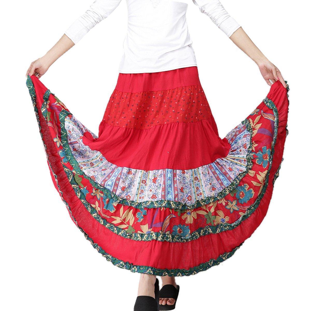 d4fd80bed FEOYA - Falda - para Mujer Rojo Talla única: Amazon.es: Ropa y ...