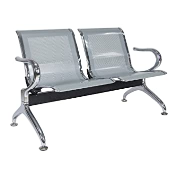 Kinbor Airport Reception Waiting Chair Room Garden Salon Barber Bench (2 seats Silver)  sc 1 st  Amazon.com & Amazon.com : Kinbor Airport Reception Waiting Chair Room Garden ...