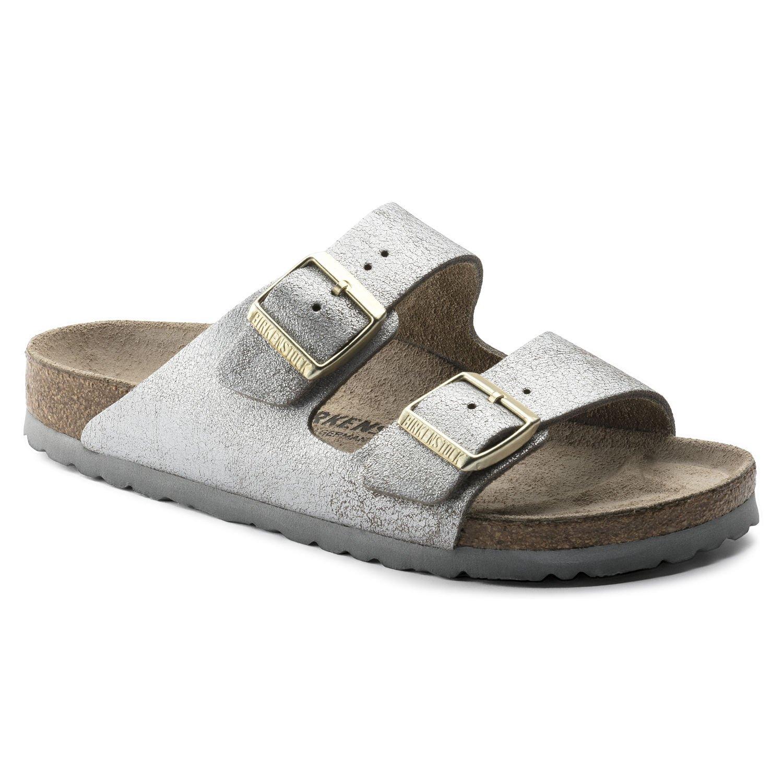 Birkenstock Arizona Unisex Leather Sandal B074S68W2V 42 Narrow EU Washed Metallic Blue