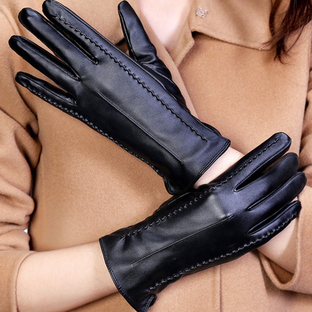 Long Keeper Women's Touchscreen Texting Driving Winter Warm PU Leather Gloves … (Black) by Long Keeper (Image #2)
