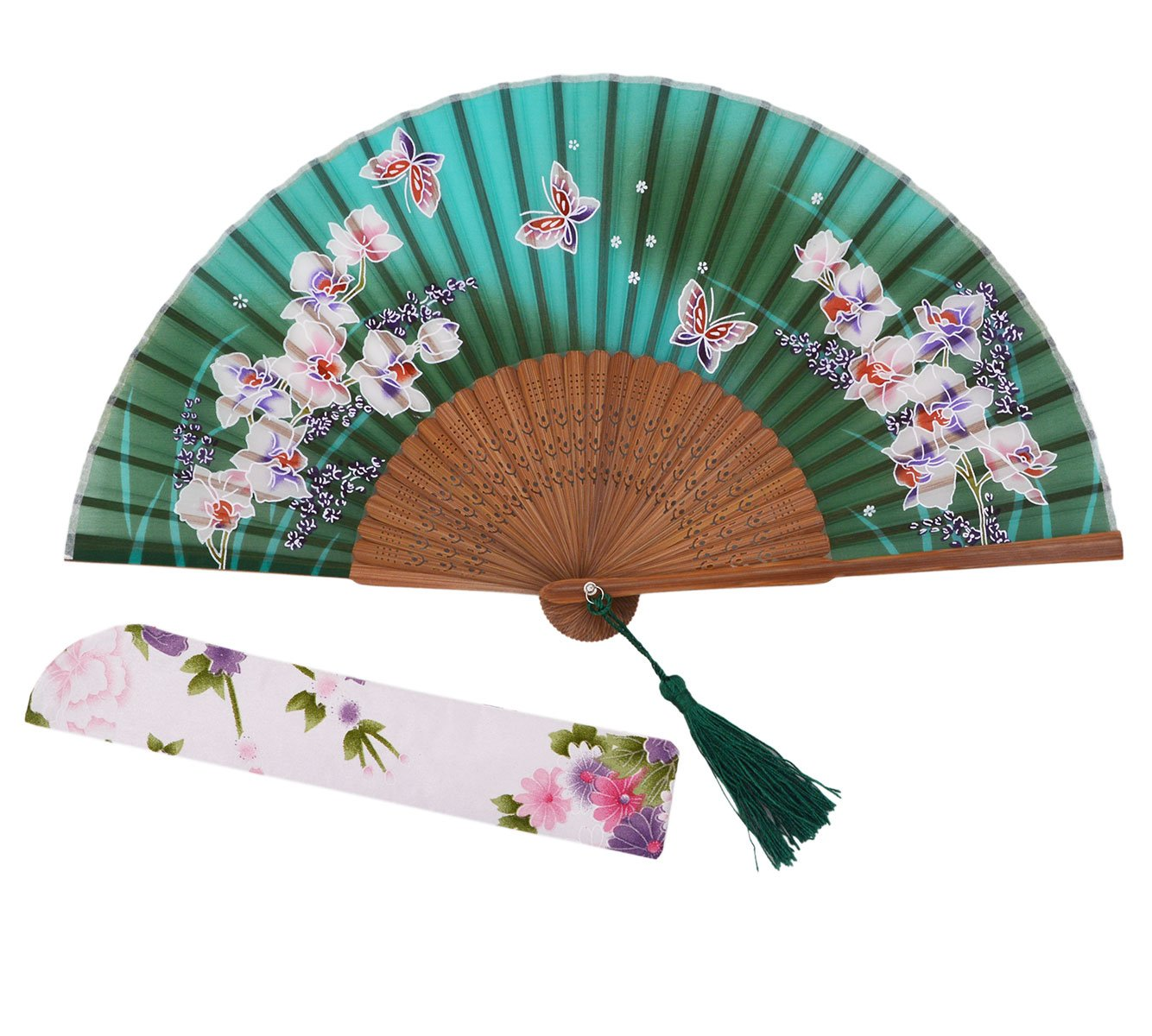 Meifan Chinese/Japanese Womens Handmade Silk Folding Hand Fan (Green)