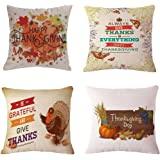 BPFY Happy Thanksgiving Pillow Covers 18 x 18 Inch Cotton Linen Home Thanksgiving Decorations Sofa Throw Pillow Case Cushion Covers Set of 4
