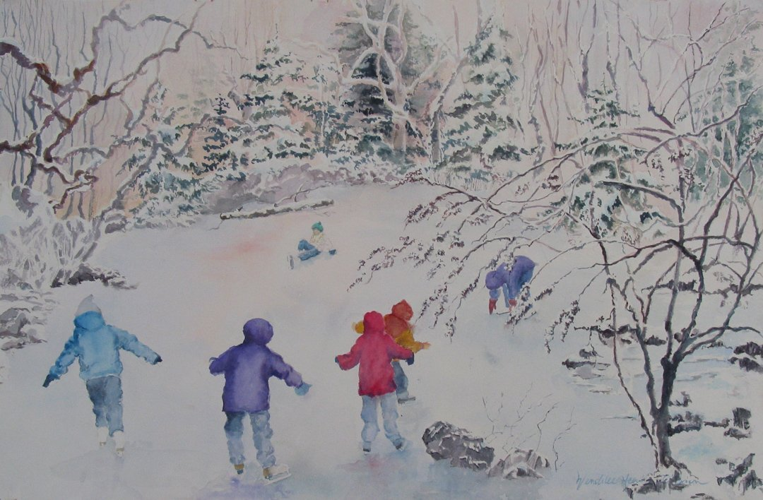 Children Skating Maine Greeting Card