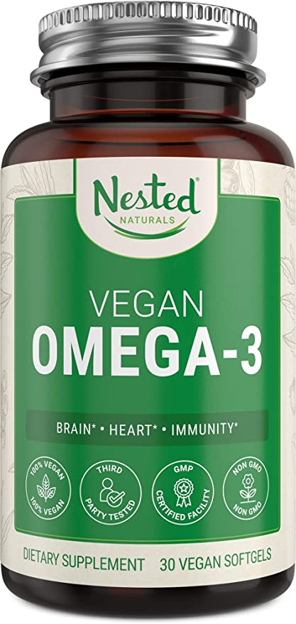 Nested Naturals Vegan Omega 3 DHA & EPA Supplement