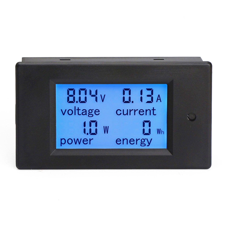 DROK Digital Multimeter DC 6.5-100V 20A Voltage Amperage Power Energy Meter DC Volt Amp Tester Gauge Monitor LCD Digital Display with Blue Backlight Measuring Volts Current with Built-in Shunt