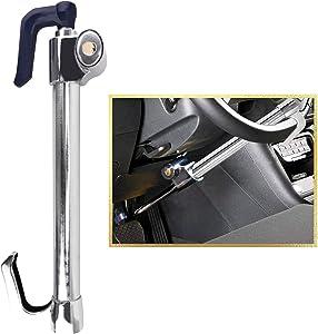 Tevlaphee Universal Steering Wheel Brake Lock Anti-Theft Retractable Double Hook Car Clutch Pedal Lock for Car Truck SUV Van Security with 3 Keys