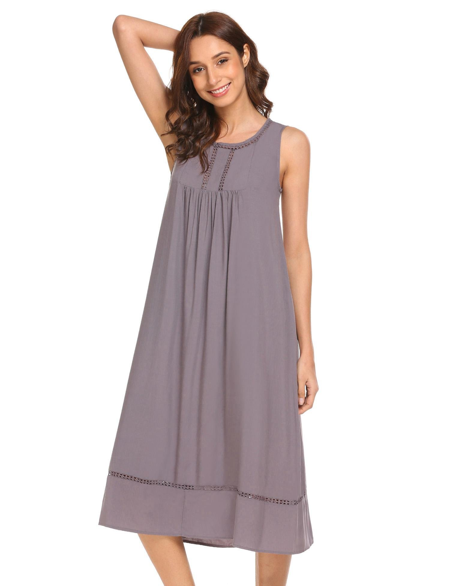 Ekouaer Ekoauer Womens Anna Cotton Nightgown, Sleeveless Victorian Sleepwear