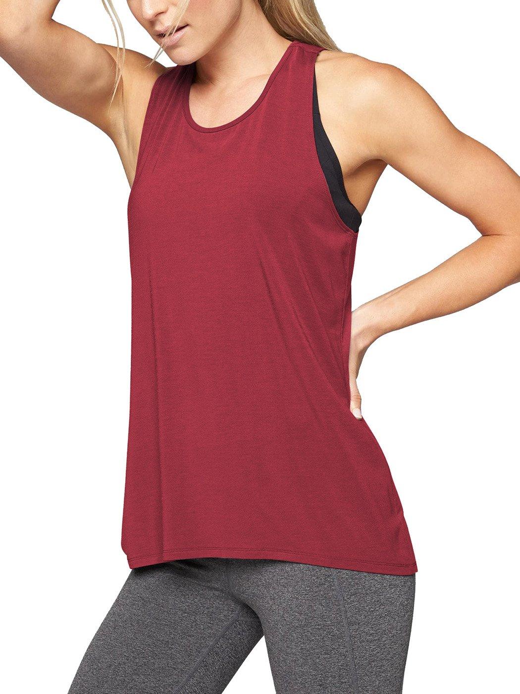 Bestisun Women's Yoga Tank Top Workout Sport Shirt Racerback T-Shirt Top Wine Red M by Bestisun (Image #2)