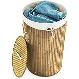 Relaxdays Wäschekorb Bambus rund Ø 41 cm, 65 cm hoch cm faltbare Wäschetruhe mit einem Volumen von 80 Litern mit Wäschesack aus Baumwolle zum Herausnehmen für Ecken und Nischen im Badezimmer, natur