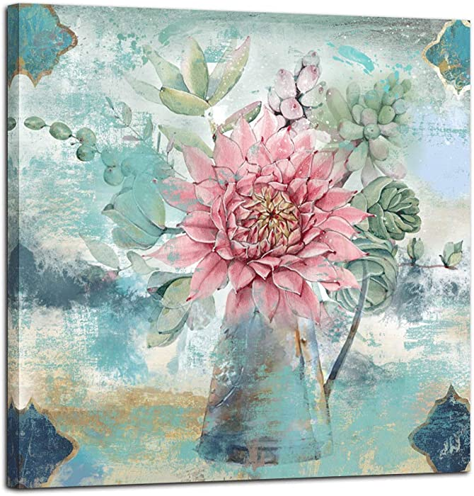 "Anolyfi Canvas Wall Art Watercolor Pink Flower Picture Green Plants Painting Prints Framed Artwork for Bedroom Kitchen Dinning Room Living Room Office Home Decor- 14""X14"", One Panel, Gallery Wrapped"