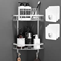 Flowmist 2 Tiers Corner Shower Caddy, Shower Organizer, Wall Mounted Aluminum Shower Shelf with Adhesive(No Drilling…