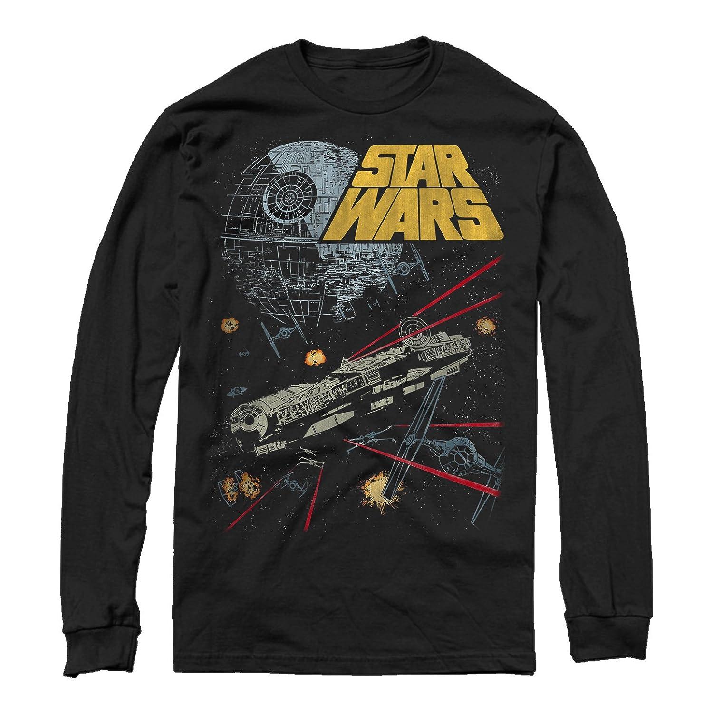 01c40c74 Star Wars Men's Millennium Falcon Battle Long Sleeve T-Shirt