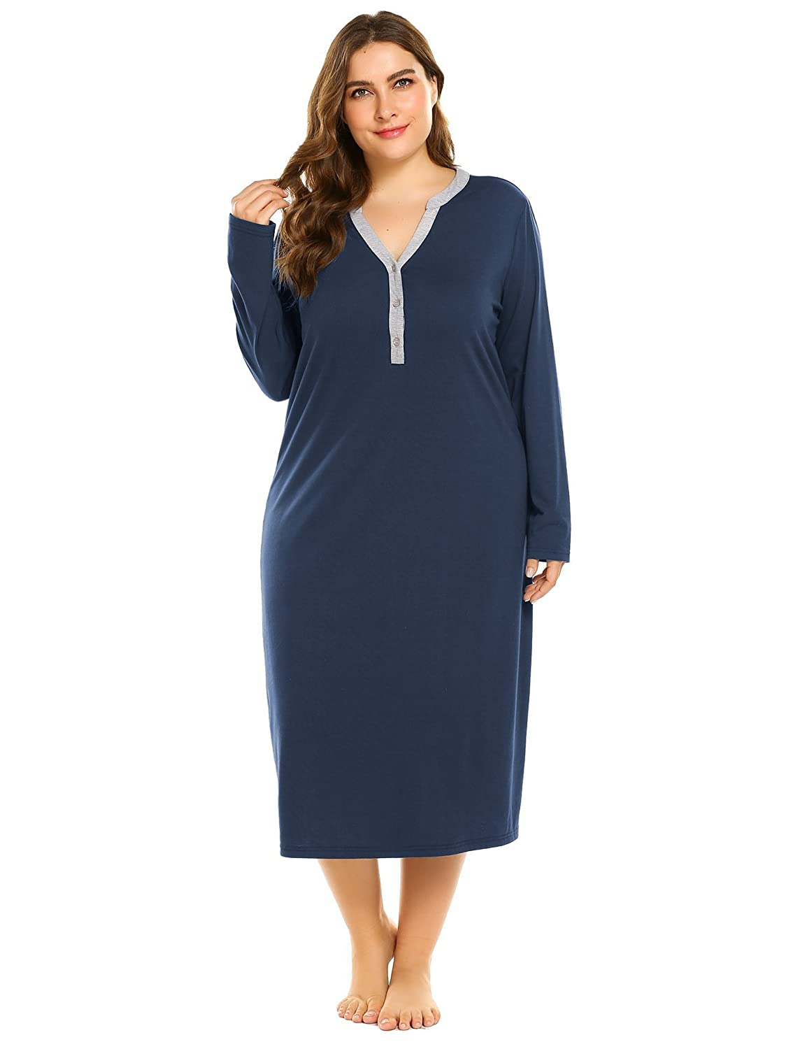 IN'VOLAND Sleepwear Women's Plus Size Cotton Knit Long Sleeve Nightgown Full Length Sleep Dress(16W~24W) INK009701
