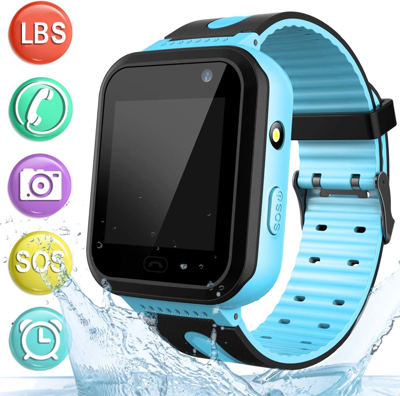 Reloj GPS Tracker Impermeable para Niños - Smartwatch Resistentes al Agua Teléfono con Localizador GPS LBS Juegos de Chat de Voz Cámara para Juegos de Regreso a la Escuela Regalo (Azul)