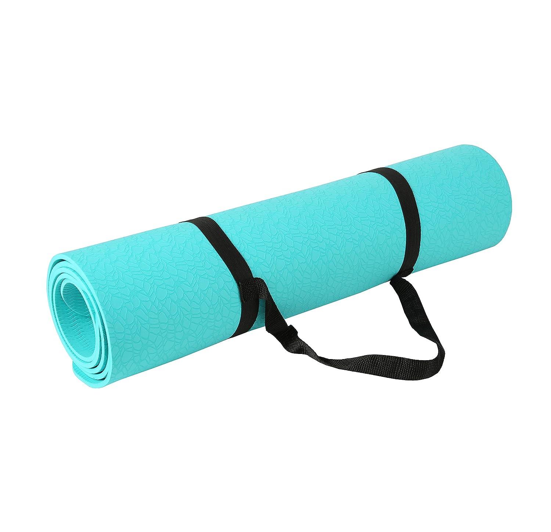 Exerz EXTPE Tapete De Yoga Y Gimnasia con Una Correa De Transporte - 183x61 CM/ 6 MM - Alta Densidad/Antideslizante/Certificada Eco ...