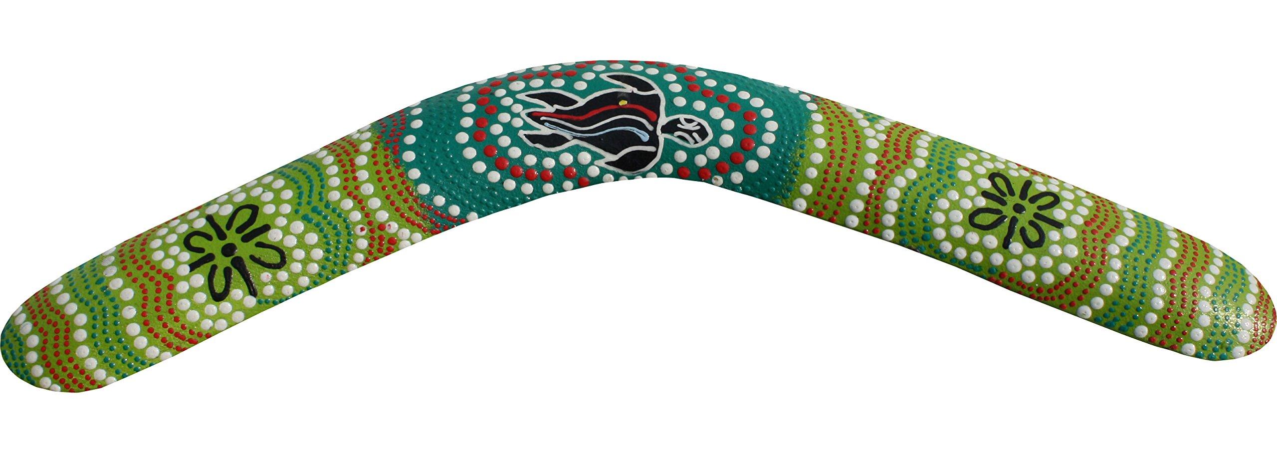 Raan Pah Muang Brand Thai Made Australian Aboriginal Art Decorative Boomerang #88373 by Raan Pah Muang