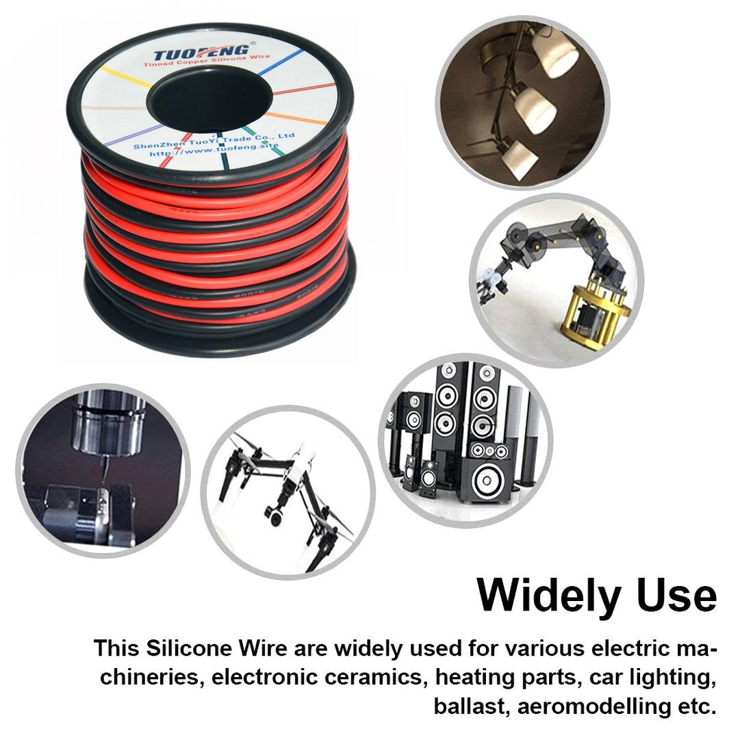 Tuofeng 18 Gauge Wire66 Feet Super Flexible Silicone Insulated China Electric Wire Electrical Copper Wires Hookup 33 Ft Black And Red 2 Separated Tinned