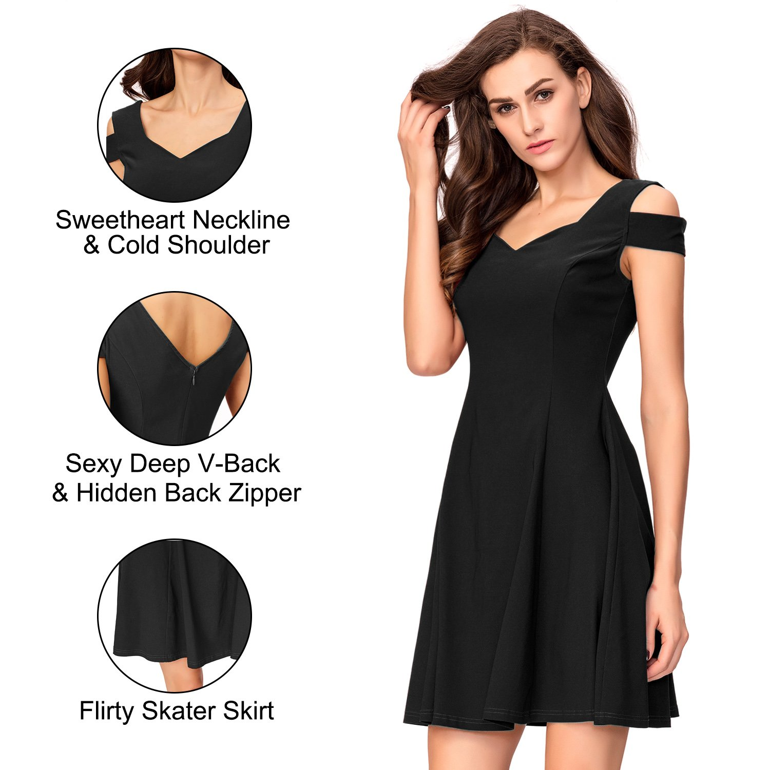 InsNova Cold Shoulder Flare Black Cocktail Dress for Women Evening Party by InsNova (Image #6)