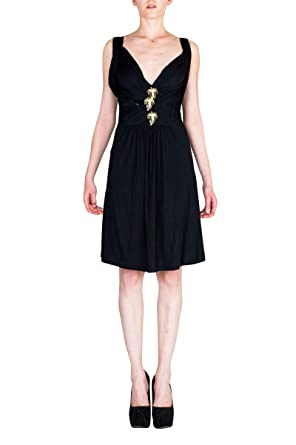 VIRGIN ONLY Womens Plunge V neck line flowy dress-S-Black