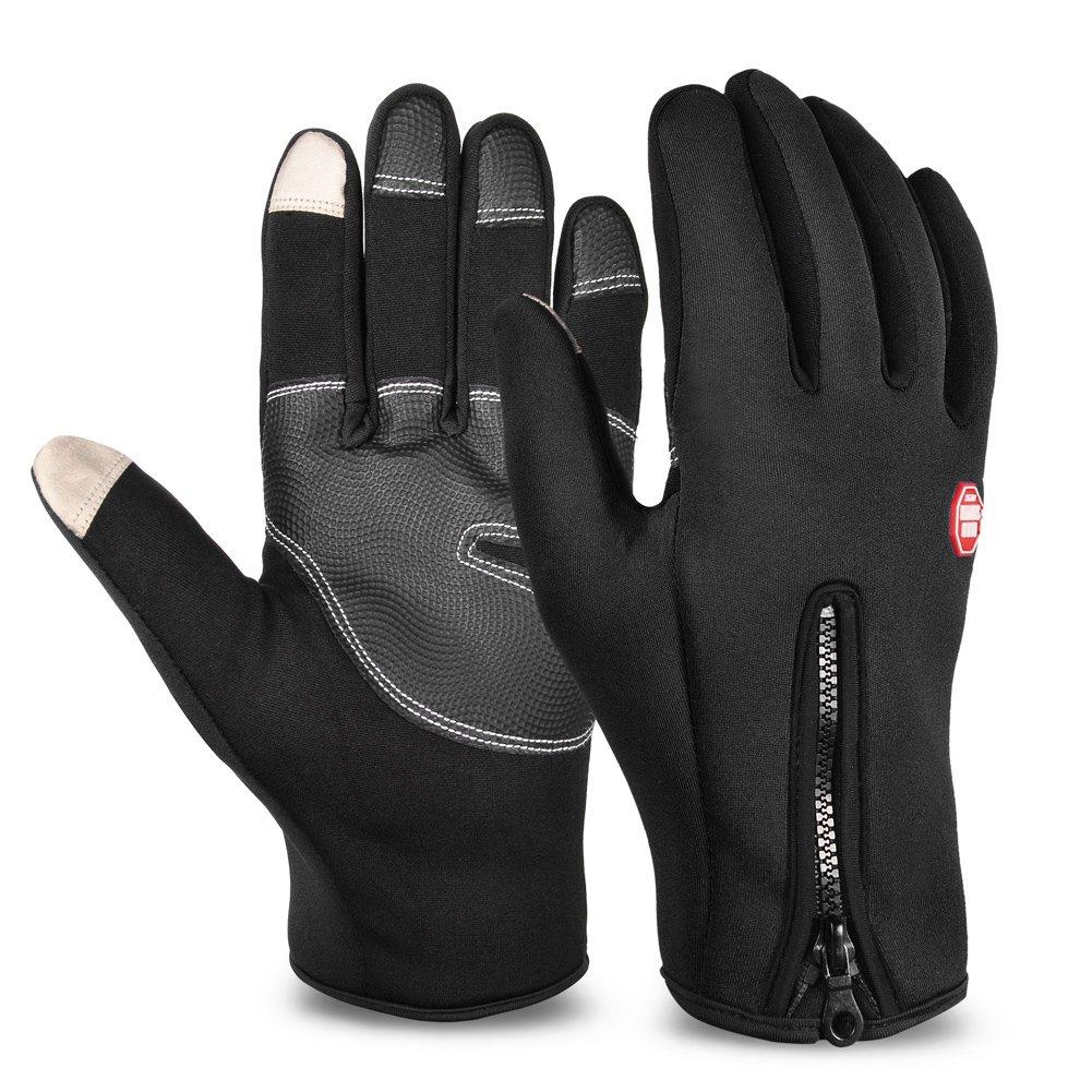 Vbiger Winterhandschuhe Wasserdicht Fahrradhandschuhe Sporthandschuhe SkiHandschuhe Outdoor Snowhandschuhe mit dickem Fleecefutter, Schwarz-1, XL