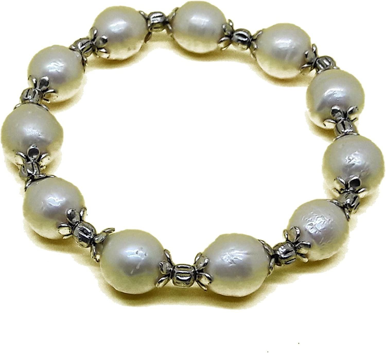 El Coral Pulsera Perlas Blancas 10mm con Bolas Plateadas, elástica