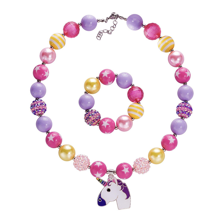 Vinjewelry Beautiful Bubblegum Chunky Bead Necklace Jewelry Set Little Girls Gift