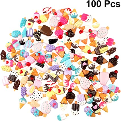 100 Pieces Flat Back Embellishment Cute Ice Cream Resin Cake for DIY Hairpins