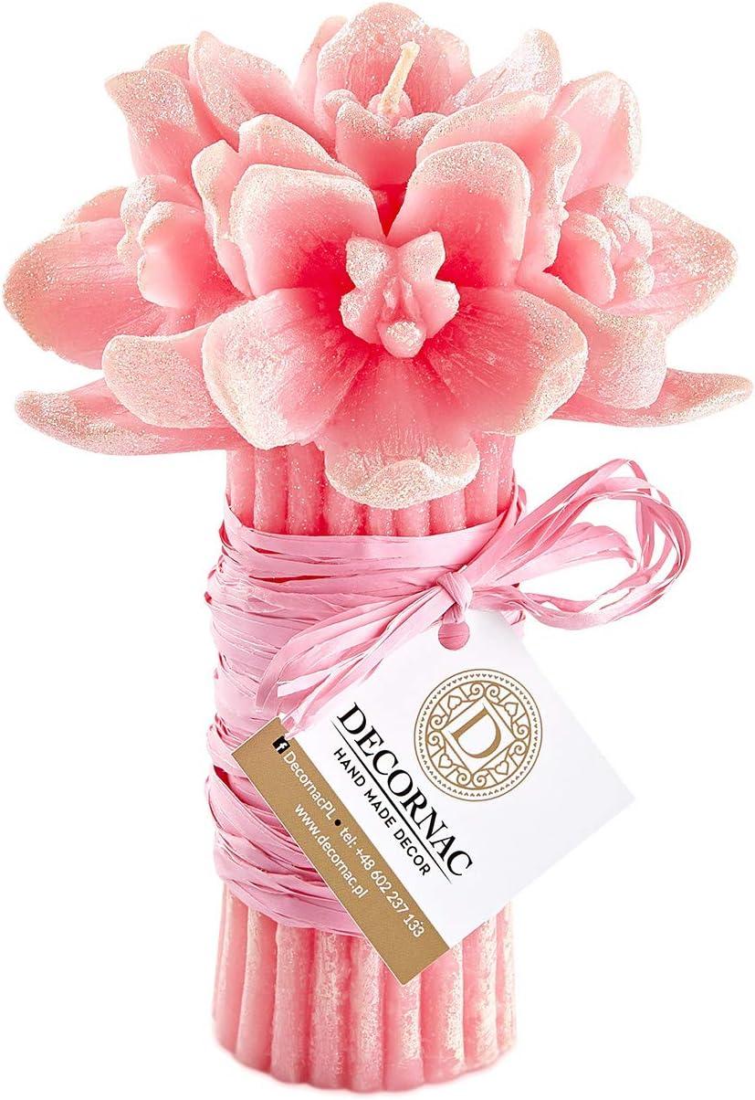Grande Mazzo di Fiori Orchidee Rosa /♥ Candele profumate /♥ HANDMADE /♥ con Oli Essenziali naturali aromaterapia Regalo mamma donna festa dei nonni Bouquet Orchidea finta con paillette Aroma Rosa