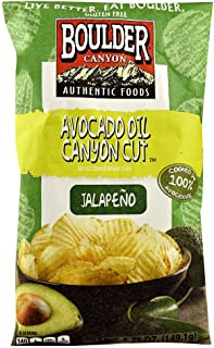 product image for Boulder Canyon Authentic Foods Avocado Oil Canyon Cut Kettle Cooked Potato Chips Jalapeno -- 5.25 oz (Pack of 2)