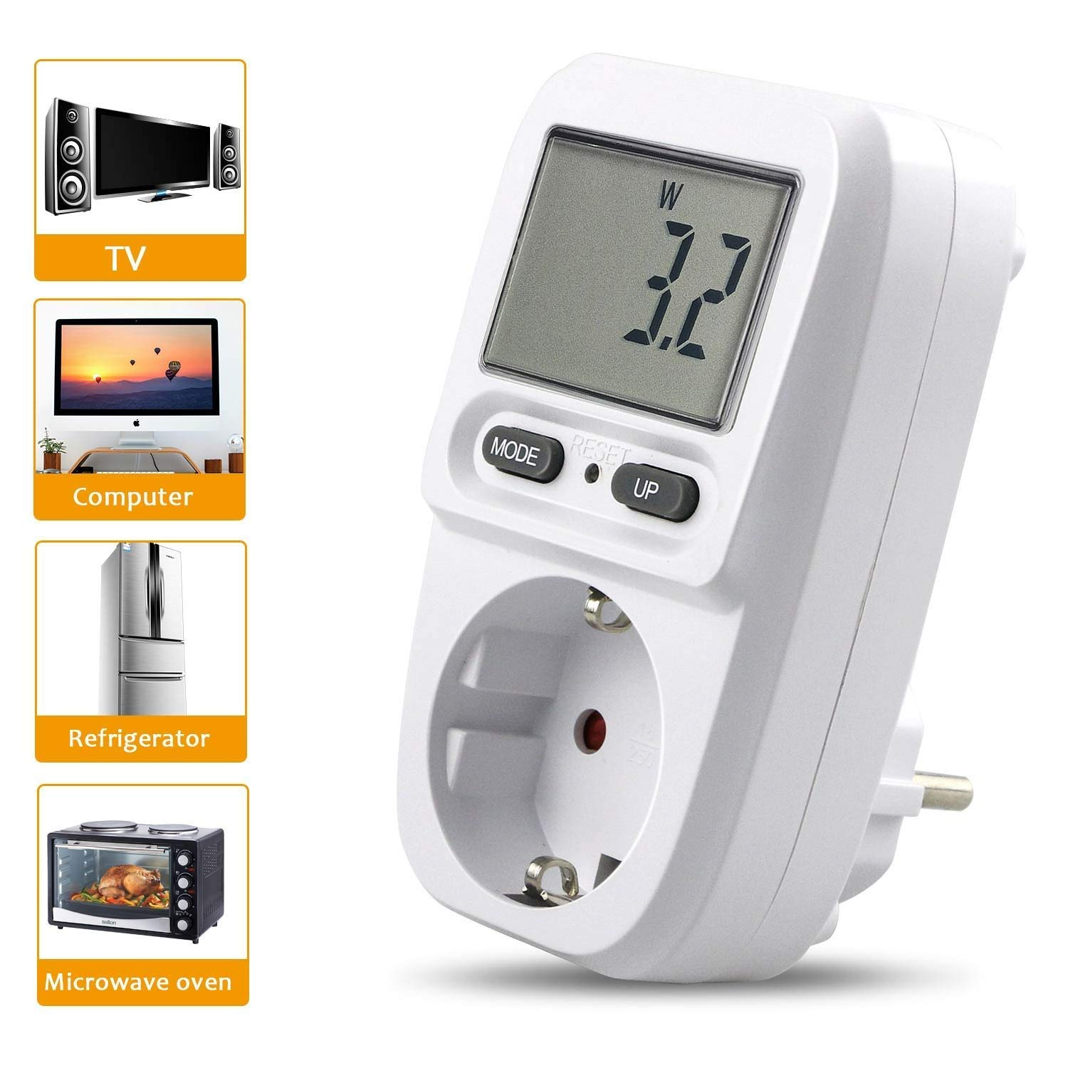 Gifort Power Meter, Plug Power Consumption Meter, Plug Power Meter, Energy Voltage Amps Watt Electricity Usage Monitor Analyzer with Digital LCD Display Reduce Your Energy Costs