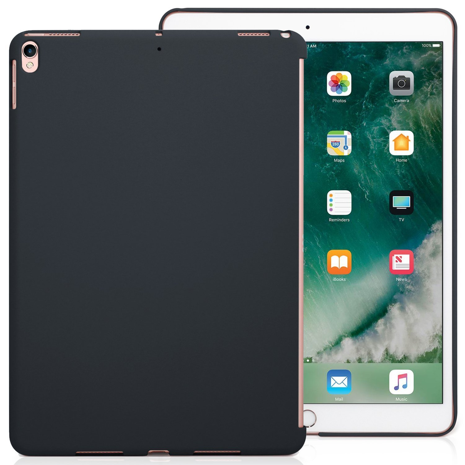 KHOMO iPad Pro 10.5 Inch Charcoal Gray Color Case - Companion Cover - Perfect match for Apple Smart keyboard and Cover. by KHOMO