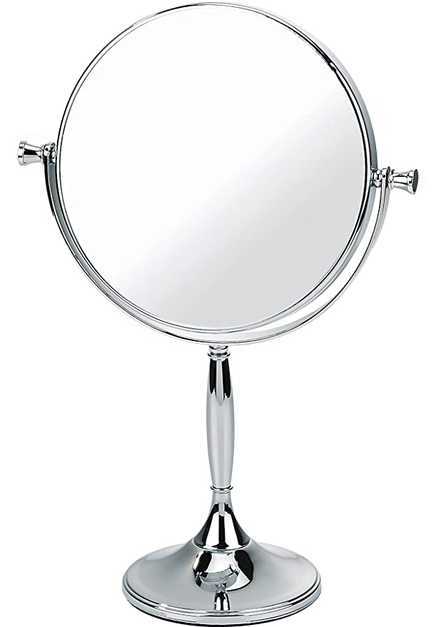 cdaf610a03b Chrome Pedestal Mirror True Image x7 Magnfied 32cmx17.5cm  Amazon.co.uk   Beauty