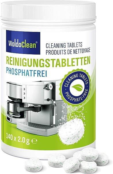 WoldoClean Pastillas de limpieza sin fosfatos para cafeteras automáticas, cafeteras, Jura, Delonghi, Bosch, Siemens Seaco 140x: Amazon.es: Hogar