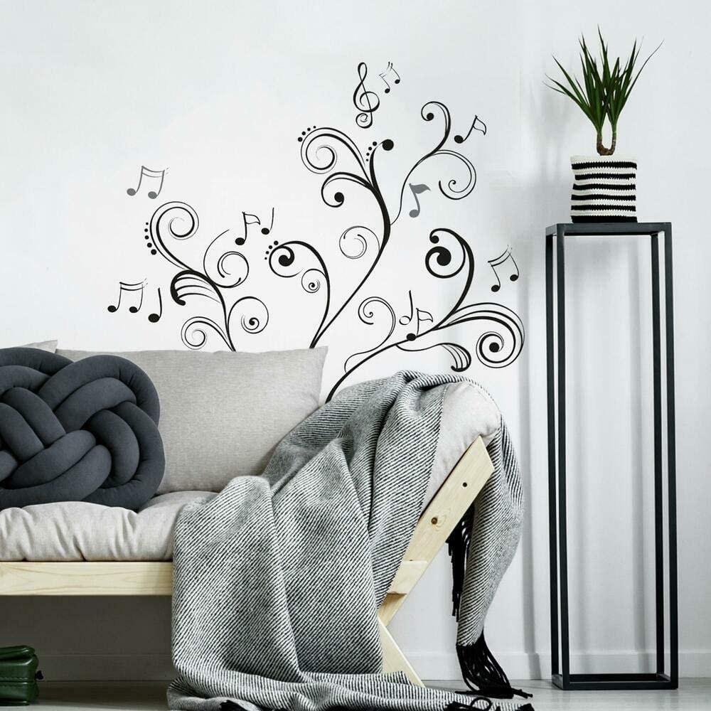 Roommates Music Note Scroll Peel And Stick Wall Decals Black Wall Decor Stickers