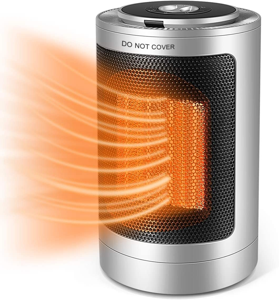 Portable Electric Space Heater, 1500W/750W Ceramic Heater with Fast Heat in 3s with Overheat Protection &Tip-Over Protection,Safe & Quiet for Home/Office/Bedroom and Bathroom.