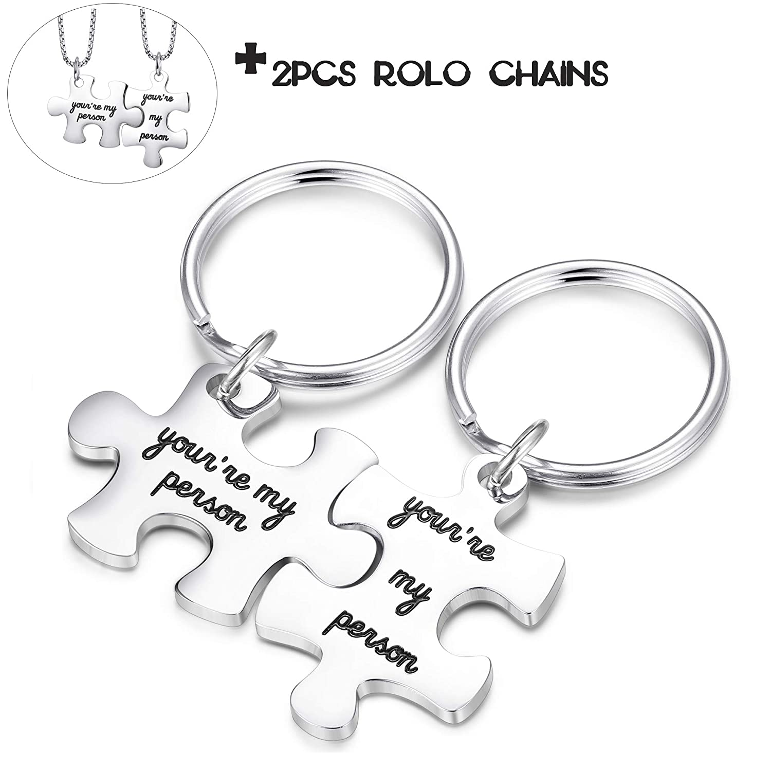 Jstyle 2Pcs Womens Mens Couples Keychains Set Stainless Steel Puzzle Pendant Love Matching Necklace Couple Jewelry Gift for Girlfriend Boyfriend Wife Husband N0001-S