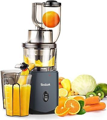 Bextcok Slow Juicer Entsafter Gemüse und Obst Profi Hochleistung Saftpresse Elektrisch Kauen Kältepresse mit 83mm Wide Caliber Ruhiger Motor