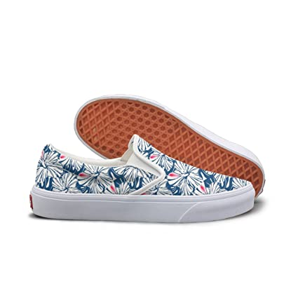 SEERTED Blue Tropical Hibiscus And Palm Comfortable Sneakers For Women For Work